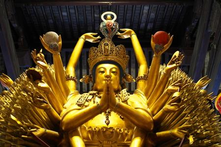 Shanghai,China-September 16, 2019: Buddha statue at Longhua temple in Shanghai, China 写真素材 - 136266994