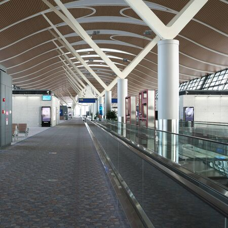 Shanghai,China-September 19, 2019: Shanghai Pudong International Airport Second Terminal Departure Gates