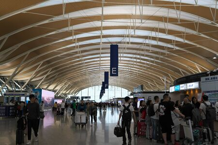 Shanghai,China-September 19, 2019: Ceiling of Shanghai Pudong International Airport Second Terminal Check-in Counters 報道画像
