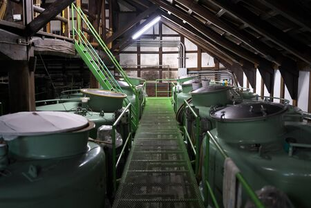 Tokyo,Japan-December 29, 2019: Sake fermentation tank made of iron