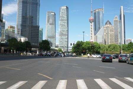 Shanghai,China-September 18, 2019: Lu Jia Zui intersection at Pudong area in Shanghai, China Redakční