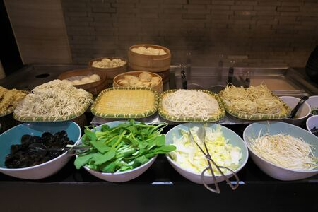 Shanghai,China-September 18, 2019: Varieties of Chinese Serveds Noodles at Breakfast