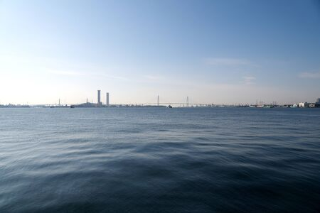 Aichi,Japan-January 14, 2020: Cable-stayed bridges at Nagoya port in Ise Bay, Japan