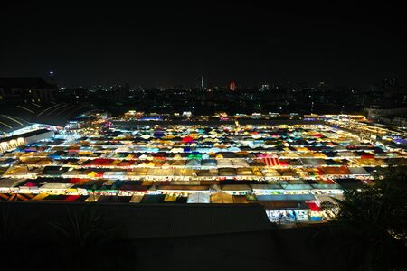 Bangkok, Thailand-January 24, 2020: Panoramic view of Ratchada Train Night Market in Bangkok