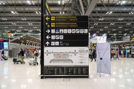 Bangkok,Thailand-January 25, 2020: Departure floor of Suvarnabhumi Airport or New Bangkok Airport International early in t He morning