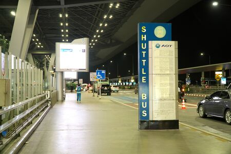 Bangkok,Thailand-January 25, 2020: Shuttle Bus Stops at Suvarnabhumi Airport or New Bangkok International Airport Early  The Morning