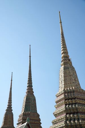 Bangkok,Thailand-January 27, 2020: Sand Towers at Pagoda Wat Pho