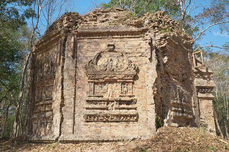 Kampong Thom, Cambodia-January 25, 2020: Flying palace relief on the wall of Sambor Prei Kuk or Prasat Yeah Puon S10 in Ka mpong Thom, Cambodia