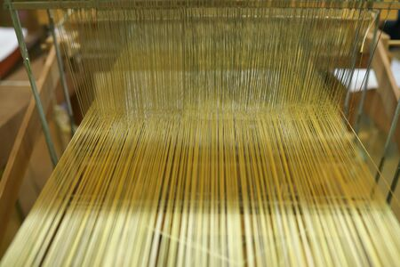 Kyoto,Japan-February 26, 2020: Weaving machine of Nishijin Ori or Nishijin silk fabrics or Nishijin brocade in Kyoto