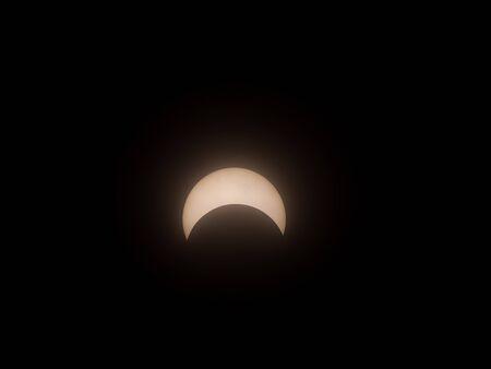 Okinawa,Japan-June 21, 2020: Partial Solar Eclipse Observed at Miyakojima Island in Okinawa, Japan, on June 21, 2020
