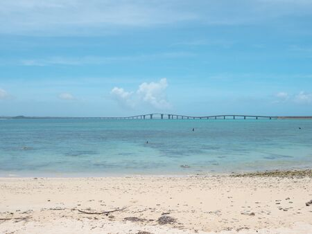 Okinawa, Japan-June 19, 2020: Irbu Owashi Bridge Connecting Miyakojima island and Irbu island, the longest charge-free bridge in Japan