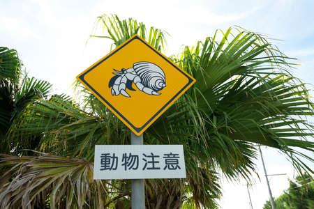 Traffic Sign of Beware of Terrestrial Hermit Clab, a National Treasure in Japan