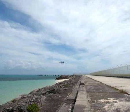Okinawa, Japan-June 21, 2020: An aircraft landing at Shimoshima Airport in Shomojishima island, Japan