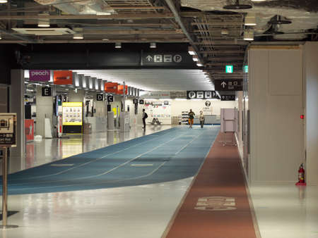 Chiba,Japan-June 19, 2020: Vacant Narita International Airport third terminal Concourse