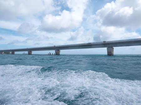 Okinawa,Japan-June 20, 2020: Ikema bridge viewed from a boat passing under the bridge Banco de Imagens