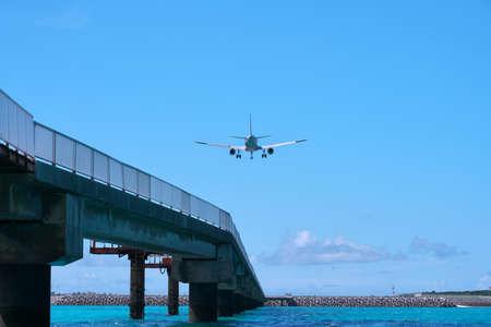 Okinawa,Japan-July, 2020: An aircraft approaching Miyako Shimojishima Airport, Okinawa, JapanAn aircraft approaching Miyako Shimojishima Airport, Okinawa, Japan