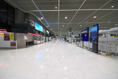 Chiba,Japan-July 14, 2020: Vacant Narita International Airport Terminal 2 Departure Floor