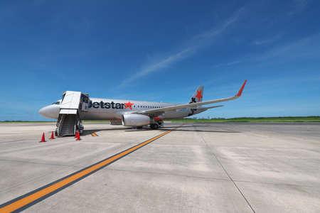 Okinawa,Japan-July 23, 2020: An aircraft ready for boarding at Miyako Shimojishima Airport in Shimoji island, Okinawa, Japan Editorial