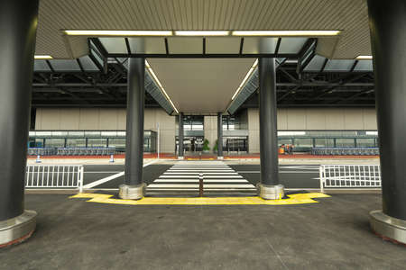 Chiba,Japan-July 14, 2020: Vacant Narita International Airport Terminal 2 Bus Stops and Taxi Stands Editorial