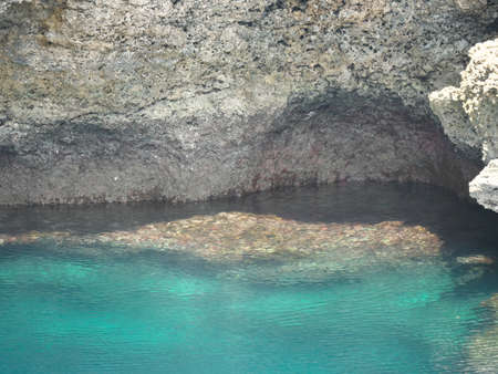 Closeup of the wall of Tori-ike Pond, Shimojishima island, Okinawa