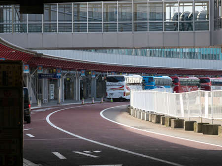 Hokkaido,Japan-November 8, 2020: New Chitose Airport Bus Stops in the morning 報道画像