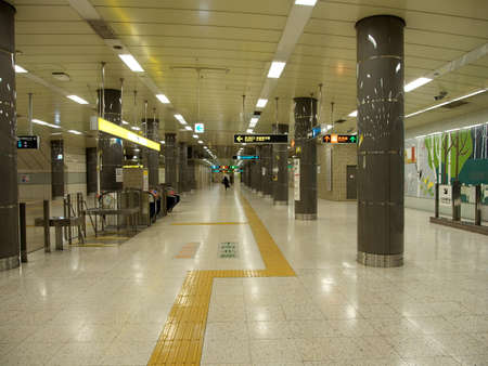Hokkaido,Japan-November 10, 2020: Platform of Sapporo Subway Odori station