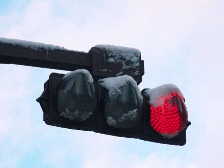 Hokkaido,Japan-November 11, 2020: Snow covering traffic light in Hokkaido, Japan