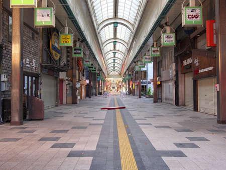 Hokkaido,Japan-November 9, 2020: Vacant Sapporo Tanukikoji Shopping Street in Sapporo City, Hokkaido, in the morning 報道画像