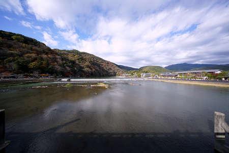 Kyoto,Japan-November 22,2020: View of Arashiyama and Katsura river from Togetsukyo bridge