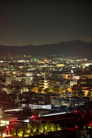 Kyoto,Japan-November 23, 2020: Night view of Toji Temple, Kyoto