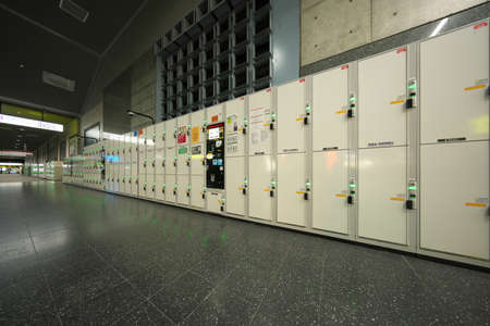 Kyoto,Japan-November 23, 2020: Many Coin-operated lockers installed in Kyoto