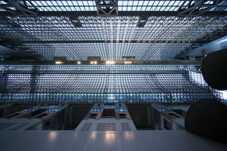 Kyoto,Japan-November 23, 2020: Modern steel and glass roof inside JR Kyoto train station, Japan. 報道画像