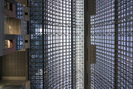 Kyoto,Japan-November 18, 2020: Modern steel and glass roof inside JR Kyoto train station, Japan.