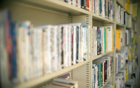 Tokyo,Japan-February 5, 2021: (Deep Bokeh) Books on the shelves