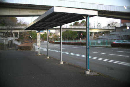 Tokyo,Japan-February 17, 2021: A vacant bus stop in Tokyo at winter morning