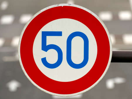 traffic sign of speed limit 50km