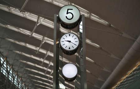 Tokyo,Japan - May 20, 2021: Clock tower at Tokyo Haneda International Airport Terminal 2 Фото со стока