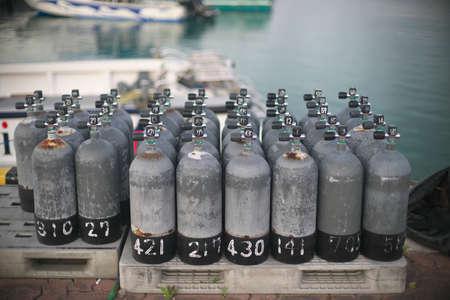 Okinawa,Japan - May 21, 2021: Scuba tanks on Ishigaki Port Pier
