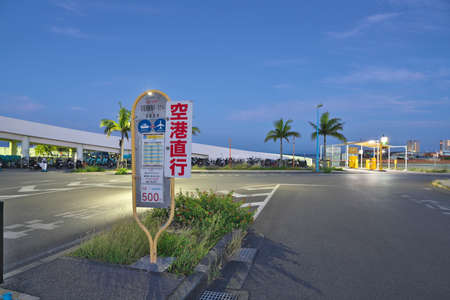 Okinawa,Japan - May 24, 2021: Ishigaki Ferry terminal bus stops and taxi stands in the morning