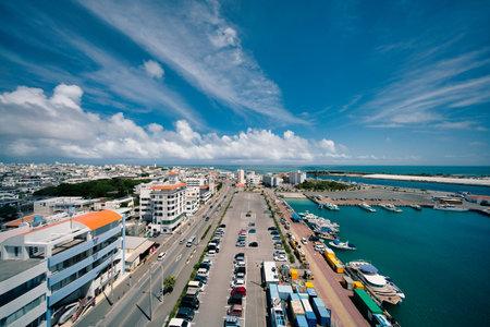 Okinawa,Japan - May 21, 2021: Panoramic view of Ishigaki City, Okinawa, Japan, from Ishigaki port