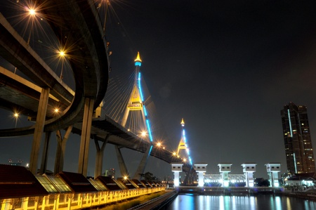 Bhumibol Bridge, Bangkok, Thailand  photo