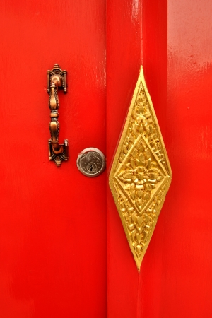 deadbolt: Door handle and deadbolt lock on red door