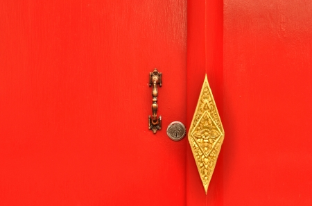 deadbolt: Door handle and Deadbolt lock on red door at Wat Pho