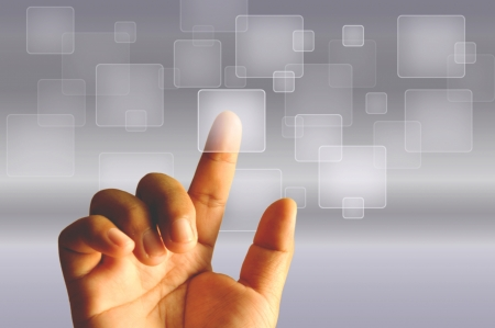 Finger Touching Transparent Digital Touch Screen Stock Photo - 15959356