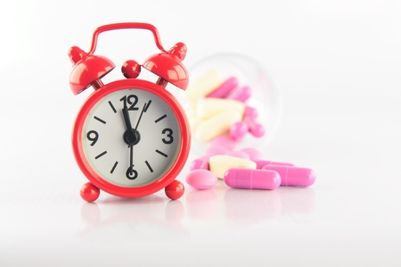 Red clock and capsule show medicine time concept Stock Photo - 16654397