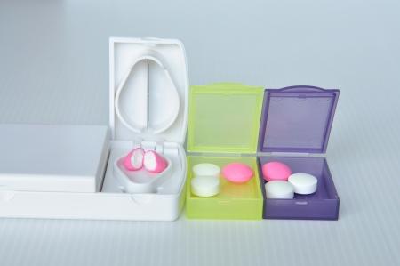 Pill box and split blade show medicine concept Stock Photo - 17593086