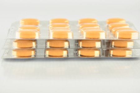 Tablet in blister pack show medicine background photo