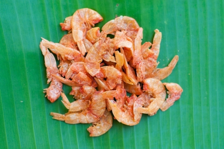 Dried shrimp on green leaf backgrond show food concept Stock Photo