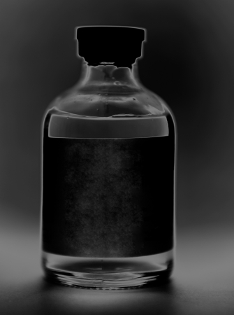 Black and white injection vial photo