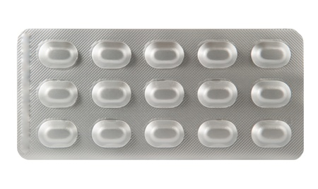 Drei Linie Tablette in Aluminium-Blisterpackung Lizenzfreie Bilder